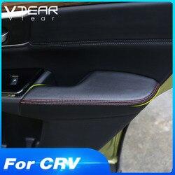 Vtear For Honda Crv Door Panel Armrest Cover Pu Leather Center Armrest Trim Protection Handle Sticker Trim Interior Car-styling
