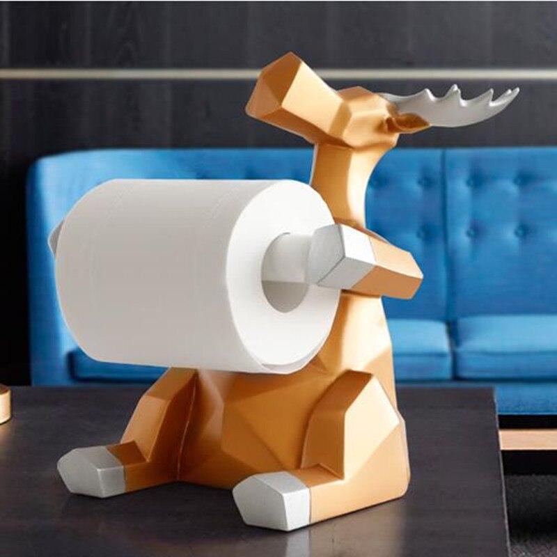 Décoration de statue animale artisanat, porte-rouleau de papier, salon bureau salle à manger papier suspendu, éléphant et cerf,