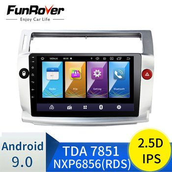 FUNROVER 2 din 2.5D+IPS Android 9.0 Car dvd Radio Multimedia GPS Navigation For Citroen C4 C-Triomphe C-Quatre 2004-2009 Stereo