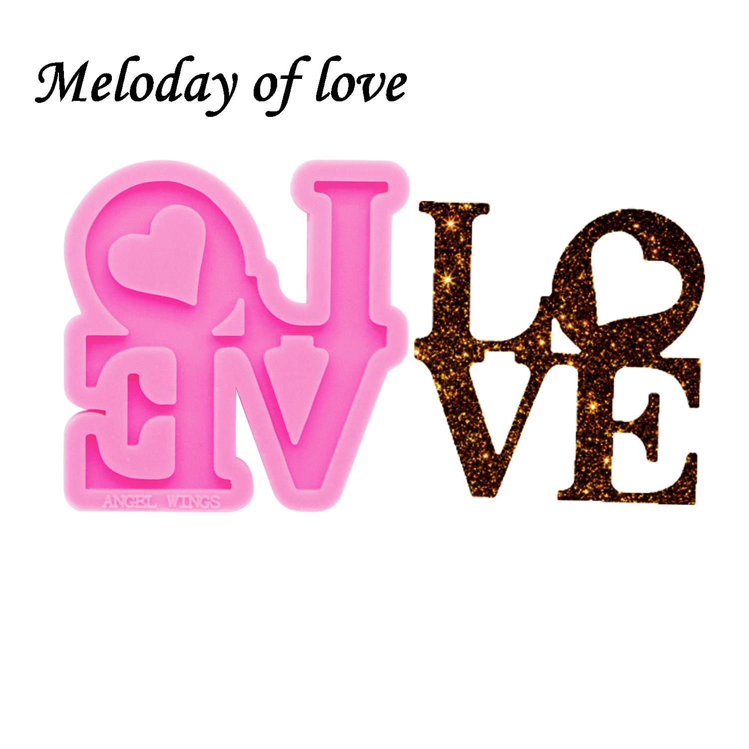 Shiny Glossy Love Letters Silicone Mold Diy Crown And Bow Epoxy Resin Molds Jewelry Making Custom Mould Keychain DY0284