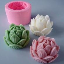 Aromathérapie bougie Silicone moule 3D Lotus fleur forme savon Silicone moule bricolage pivoine à la main savon modèle plâtre moule