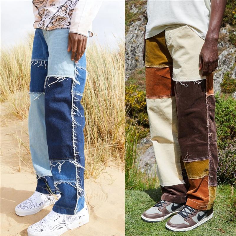 2021 frühjahr Neue Mode Für Männer Gerade Bein Jeans Ausgefranste Patchwork Farbe Block Entspannt Fit Denim Hosen Stilvolle Fit Lange hosen
