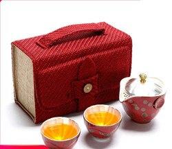Porcelana de prata copo convidado rápido um pote dois copos bule chá xícara viagem kung fu conjunto chá ao ar livre portátil