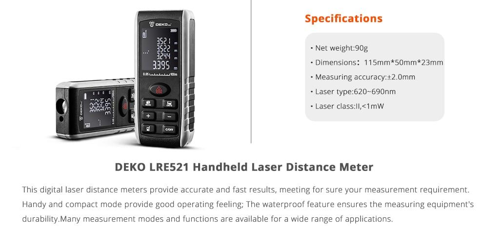 Ручной лазерный дальномер DEKO LRE521, мини лазерный дальномер, лазерный дальномер, дальномер диастиметра 40 м 60 м 80 м 100 м