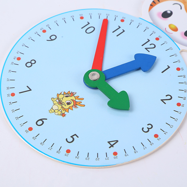 Huilong New Wooden Cartoon Clock Teaching Aid Stationery Early Education Geometric Cartoon Clock Alarm Clock Puzzle Toy