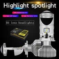 2 stücke H4 LED hallo-lo mini projektor objektiv scheinwerfer für auto klar strahl muster 12V 6000k keine astigmatismus problem lebenslange garantie