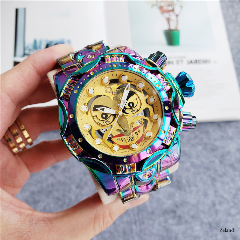 Good Quality Undefeated Invicible Men Quartz Watch Model:26790 Reserve Venom DC Comics Joker Full Gold Stainless Steel 52mm