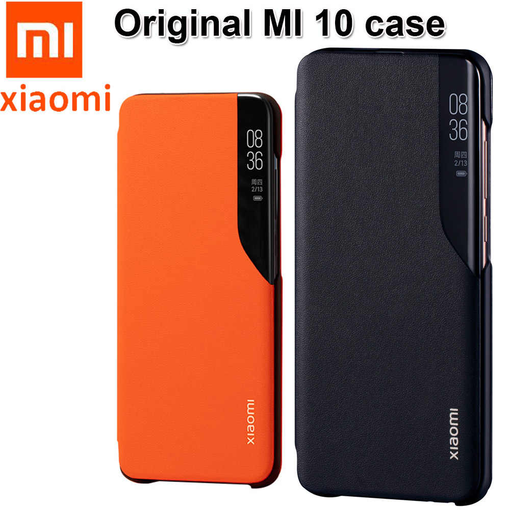 "Asli Xiaomi MI 10 Case 6.67 ""Cermin Smart View Flip Cover Xiaomi Mi 10 Pro 5G Global PU kulit Kasus Resmi Window Case"