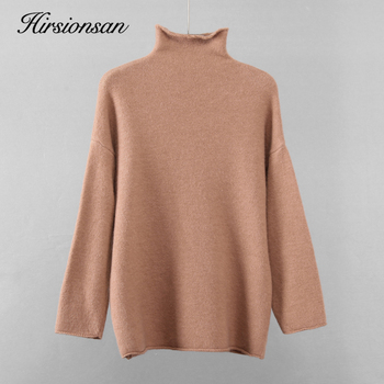 Hirsionsan Warm Mohair Sweater Women 2020 New Soft Crimped Neckline Cashmere Pullovers Korean Coffe Khaki Knitted Female Tops