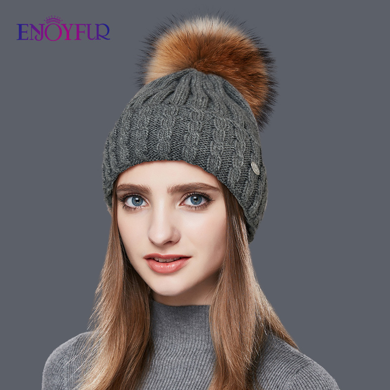 ENJOYFUR Natural Raccoon Fur Pom Poms Hat Female Warm Wool Women's Cap Twist-type Knitted Girl Winter Hats Skullies Beanies