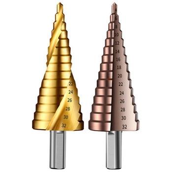 Taladros escalonados de 4-32mm para perforadoras de apertura de placa de hierro Metal M35 herramienta de perforación de Metal cobalto brocas escalonadas para metal