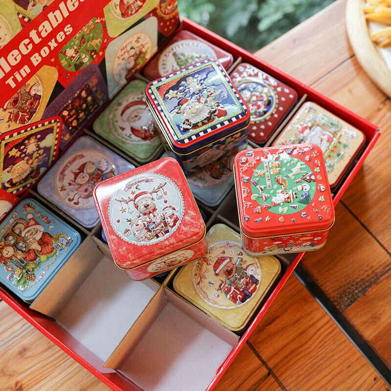 12 Chiếc Giáng Sinh Nhỏ Vuông Kim Loại Hộp Tín Bao Bì Hộp Quà Tặng Kẹo Nướng Bánh Hình Thú Nhỏ Giáng Sinh Hộp Quà Tặng
