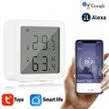 Tuya Smart leben WiFi Temperatur Und Feuchtigkeit Sensor Innen Hygrometer Thermometer Mit LCD Display Unterstützung Alexa Google Hause