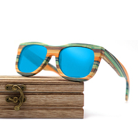 Wayfarer full - Bambou teinte verte - Bleu - Coffret en bois