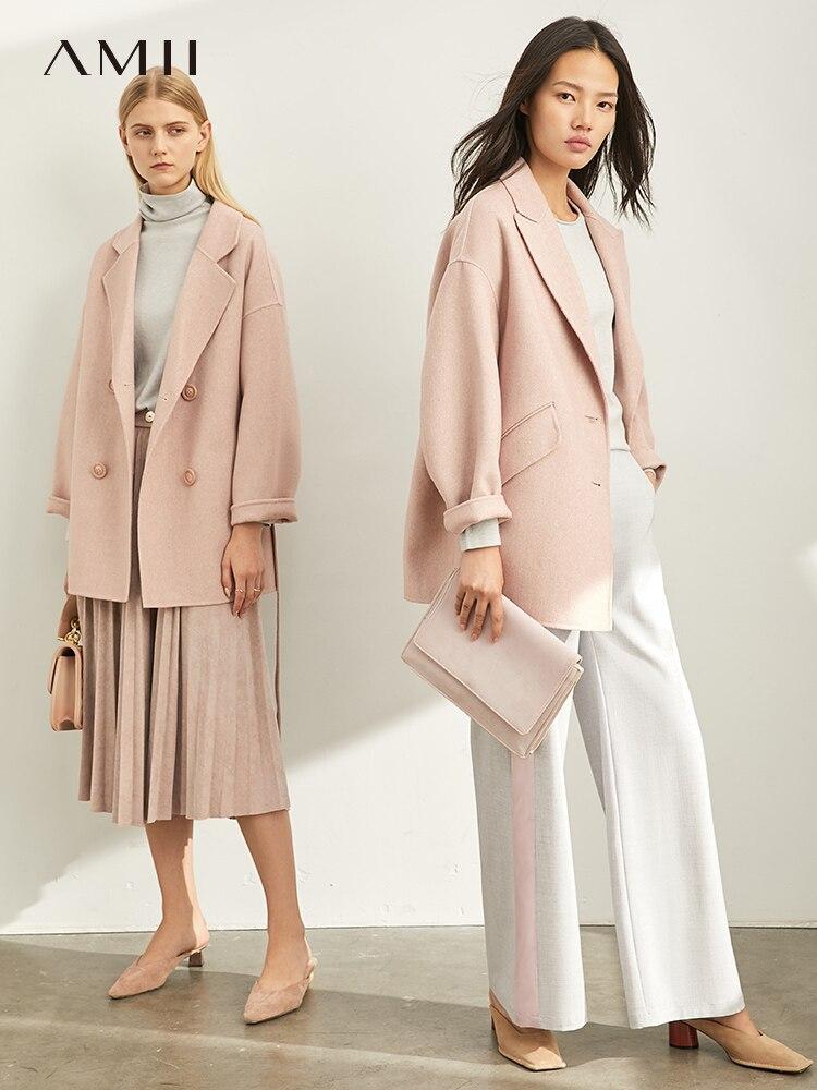 Amii Simple Wool Coat Elegant Office Lady Solid Loose Lapel Suit Female Wool Jackets Overcoat 11920247