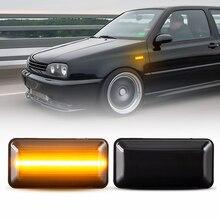 2Pcs Dynamic Amber LED Side Marker Turn Signal Sequential Blinker Light For VW Golf 3 MK3 Vento Seat Ibiza 2 MK2 Cordoba