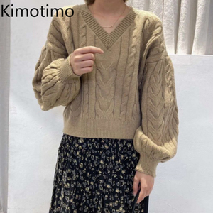 Kimotimo Vintage Sweater Long Sleeve V-Neck Knitted Jumper Solid High Street Loose Casual Chic Korean Kawaii Women Sweater