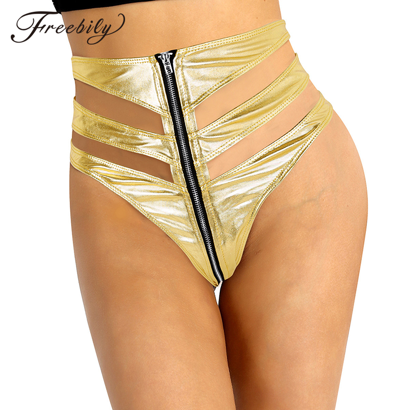 Women Shiny Metallic High Waist Front Zipper Hot Sexy Mini Booty Shorts Nightclub Party Rave Stage Pole Dance Costumes