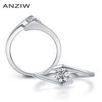 ANZIW Classice Sona Solitaire Ring Hearts and Arrows Round Cut Engagement Ring Solid 925 Sterling Silver Twist Ring \u043a\u043e\u043b\u044c\u0446\u043e \u0436\u0435\u043d\u0441\u043a