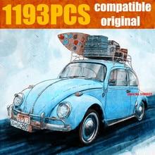 Новый 1193 шт синий гоночный Кемпер автомобиль городской Fit Technic автомобиль городской модели строительные блоки кирпичи Diy игрушки малыш Рождественский подарок 21003