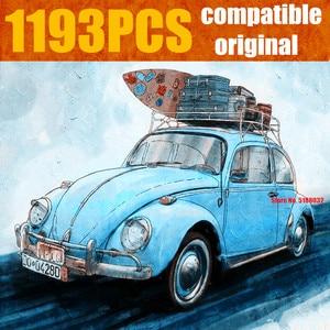 Image 1 - New 1193PCS Blue Racing Camper Car City Fit Technic Car City Model Building Blocks Bricks Diy Toys Kid Christmas Gift 21003