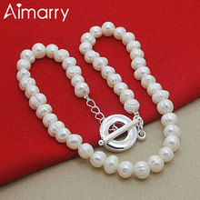 Aimarry 925 Sterling Silver 8MM White Pink Pearl TO Chain Necklace For Women Fashion Jewelry Party Engagement Wedding Gifts