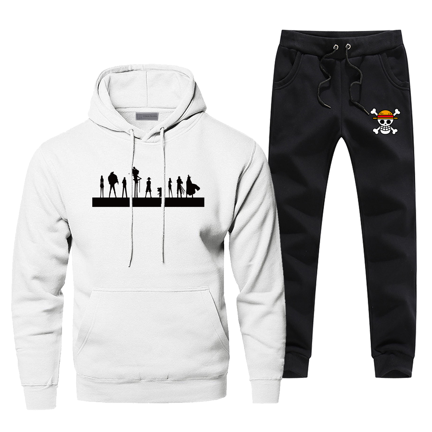 Japan Anime One Piece Hoodies Pants Set Men The Pirate King Sweatshirt Sweatpants Sportswear Autumn Pullover 2 PCS Tracksuit