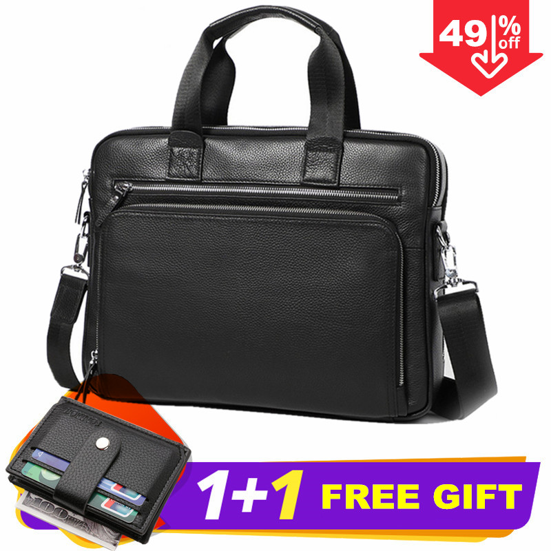Maleta Genuine Leather Bag Black Handbag Bandolera Hombre Man Bag Shoulder Bag Bolso Hombre Computer Bag Office Bags For Men