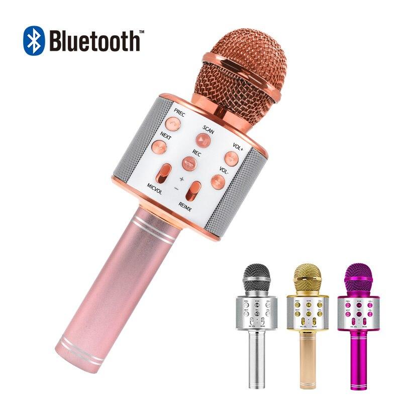 บลูทูธคาราโอเกะไมโครโฟนไร้สายไมโครโฟน Professional ลำโพงมือถือไมโครโฟนเครื่องเล่นร้องเพลงเครื่อ...