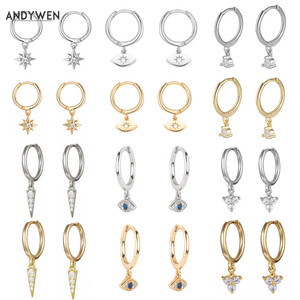 ANDYWEN 925 Sterling Silver Multi Dangle Hoops Crystal Thin Huggies With Charms Loops Circle Clips Earrings Jewelry For Womens