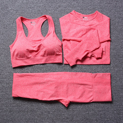 vital seamless long sleeve crop top yoga set 3 piece gym set women fitness gym clothing sport suit sports bra and leggings set