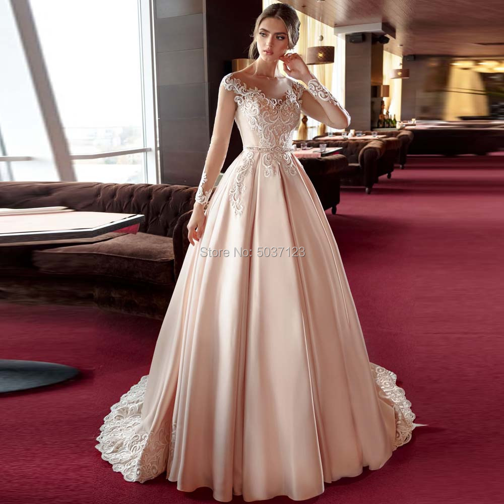 Champagne Satin Long Sleeves Wedding Dresses Vestido De Noiva A Line Lace Appliques Bridal Gowns Button Illusion Court Train