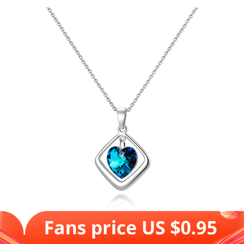 Baffin Romantic Square Necklaces Heart Pendant Crystals from Swarovski-Elements For Women Gift Silver Color Chain Girls  Jewelry