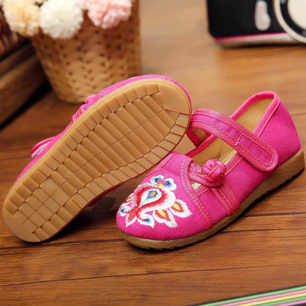 Veowalk 2-14 lat dzieci komfort płaskie buty z tkaniny małe dziewczynki bawełniane buty haftowane chiński styl dla dzieci buty do chodzenia
