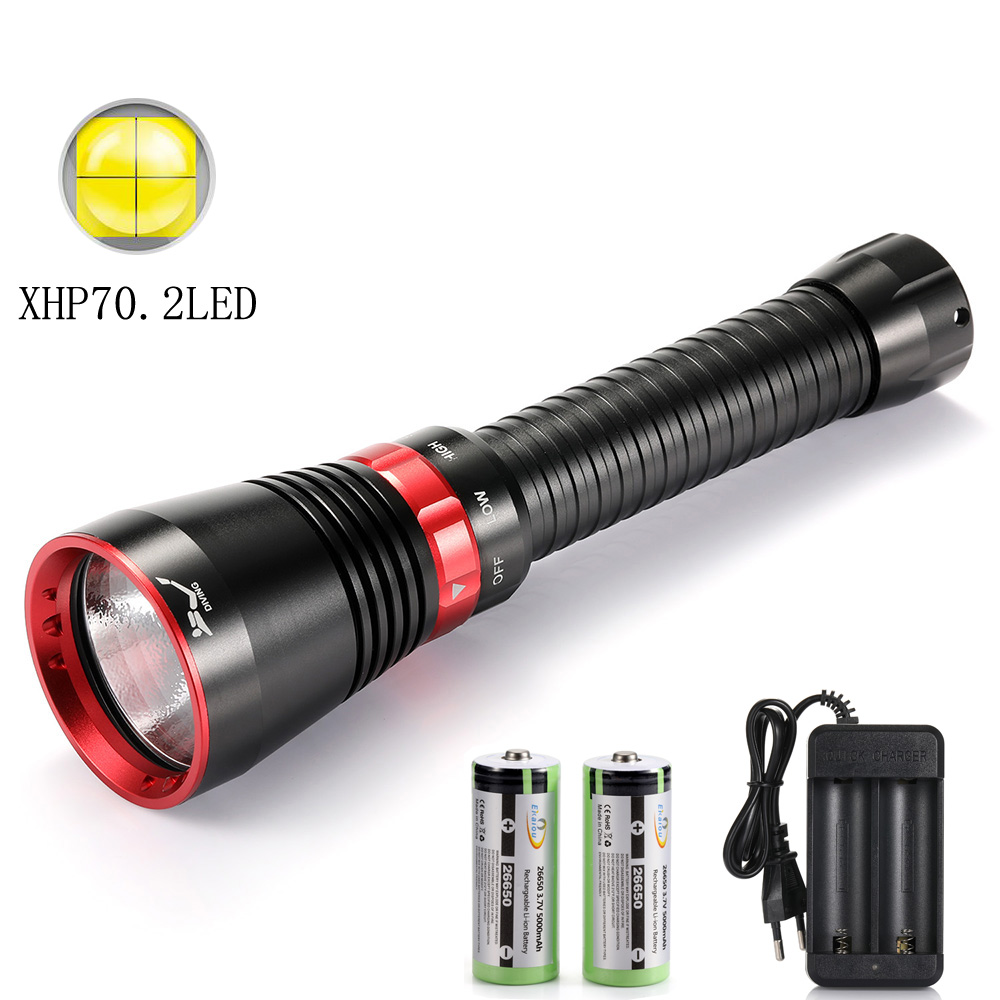 Professional 100M Depth Scuba Diving Flashlight XHP70.2 LED  Yellow Light / White Light Torch Waterproof Underwater Lamp