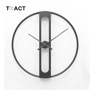 Image 1 - 북유럽 금속 벽시계 레트로 철 라운드 얼굴 대형 야외 정원 시계 홈 인테리어 벽시계 현대 디자인 reloj pared