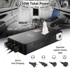 Image 2 - XP voiture onduleur cc 12 V à ca 220 V 230V convertisseur de tension avec purificateur dair QC 3.0 USB chargeur inverseur automatique 12 V 220 V
