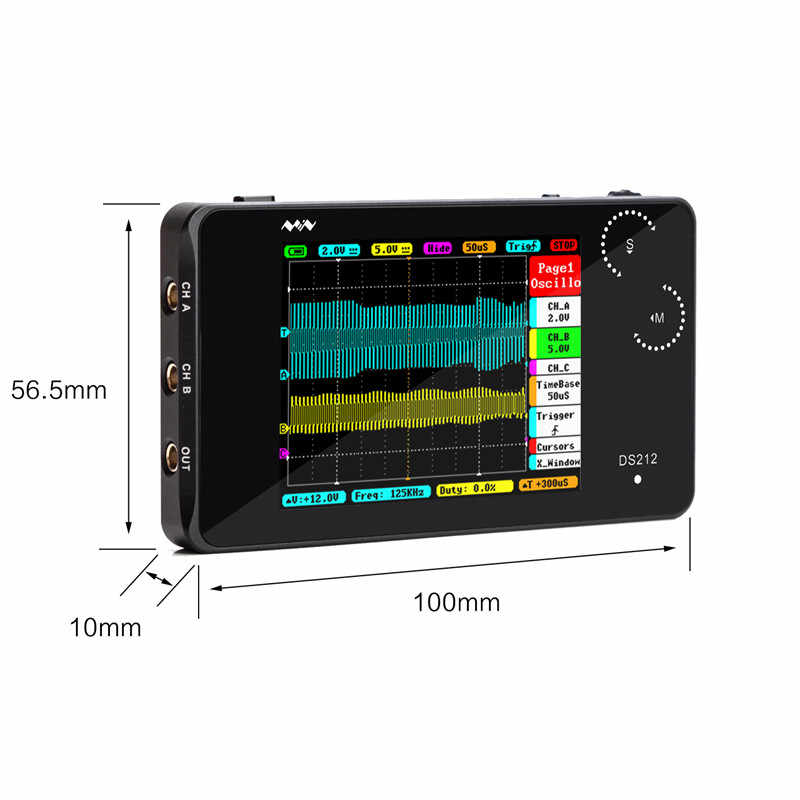 2 kanal MINI DSO DS212 Nano DSO212 dijital osiloskop profesyonel taşınabilir DS 212 MCX kombine prob kılıfı halka tutucu araçları