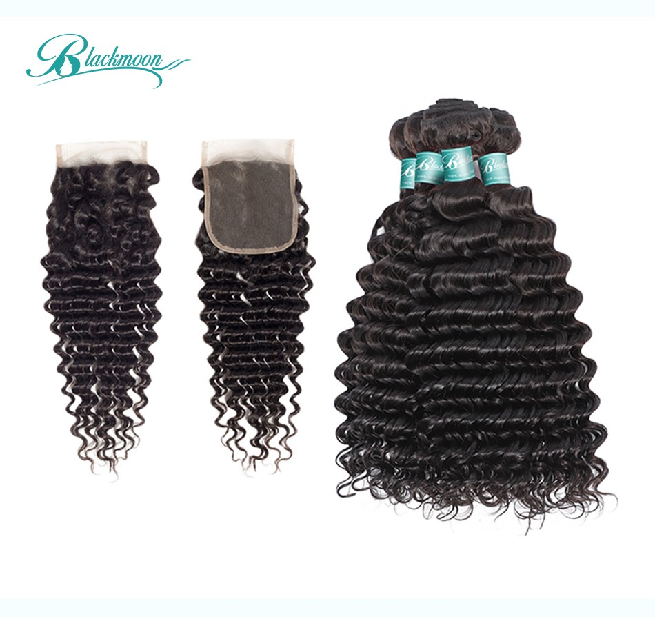 deep wave hair weave bundles with closure