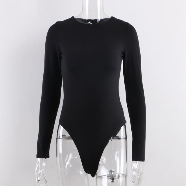 Long Sleeve Black Bodysuit O Neck Spring Winter White Body Top Sexy Women Bodysuits Streetwear clothes suit clothing catsuit 5