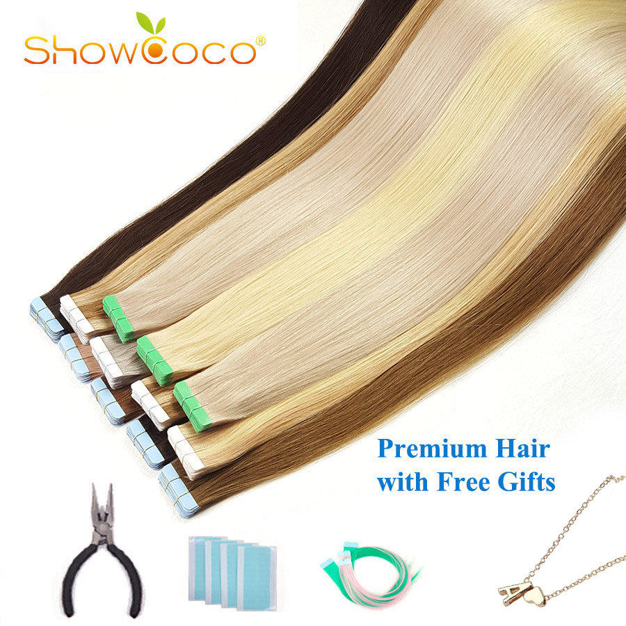 ShowCoco Walker, синяя лента для наращивания человеческих волос, натуральные неповрежденные волосы, 10 А, качественные волосы для наращивания в сал...