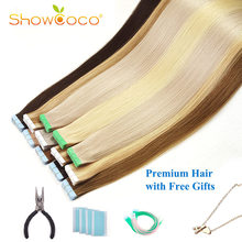 ShowCoco Walker ruban bleu dans les Extensions de cheveux humains vierge Remy cheveux 10A Salon qualité ruban Extensions de cheveux 20 pièces-80 pièces