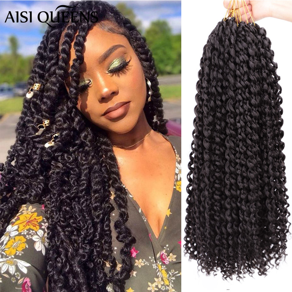 AISI QUEENS Long Passion Twist Crochet Hair Synthetic Crochet Braid Ombre Blonde Black Braiding Crochet Hair Extension