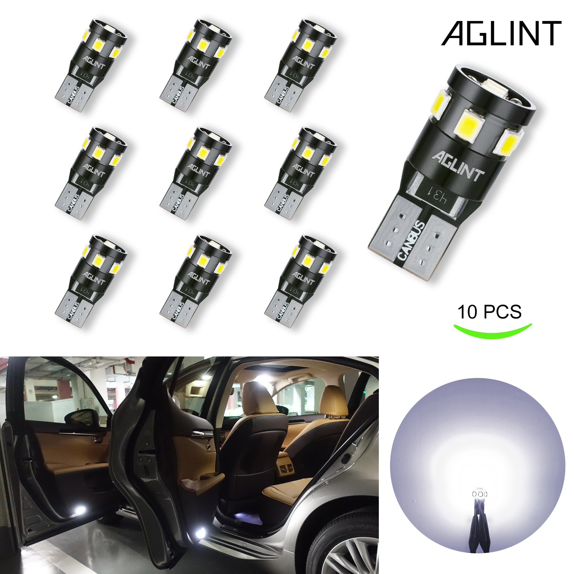 AGLINT W5W T10 LED Bulbs CANBUS Error Free 9SMD Super Bright Interior Lights for Car License Plate Light Map Dome Door Lights