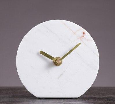 Horloge en marbre nordique légère et de luxe, salon, bureau, pendule, bureau, horloge de bureau, Individu créatif