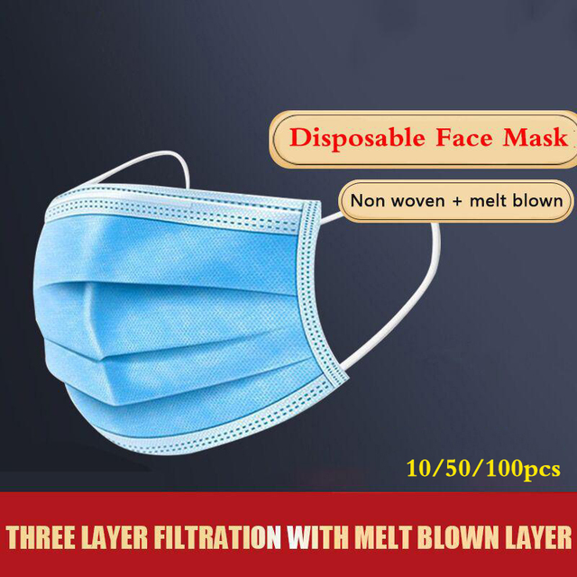 10/50/100 Pcs Non-woven Disposable Face Mask 3-layer Ply Filter Hanging Breathable Ear Filter Mask Mouth