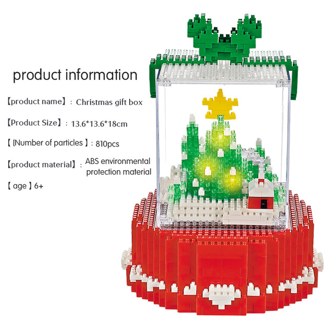 810pcs Mini Diamond Blocks LED Merry Christmas Tree Building Block DIY Educational Bricks Christmas Toy For Kids Gifts