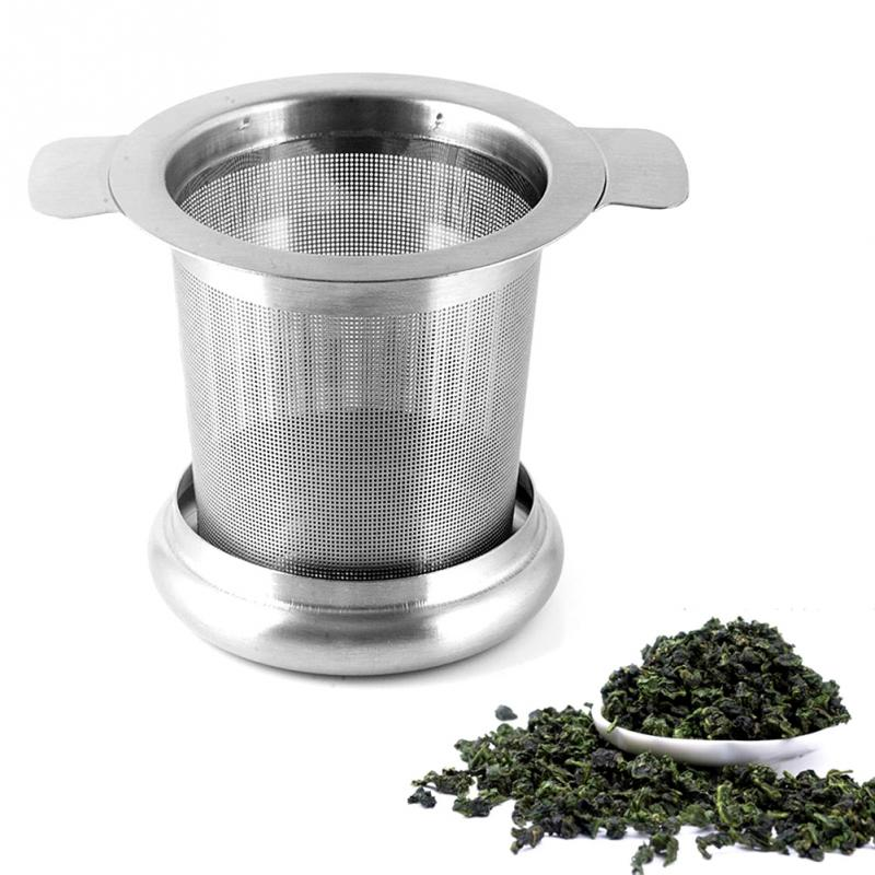 Reusable Mesh Tea Infuser With Cover Stainless Steel Tea Strainer Teapot Stainless Steel Loose Leaf Spice Filter Drinkware Tool