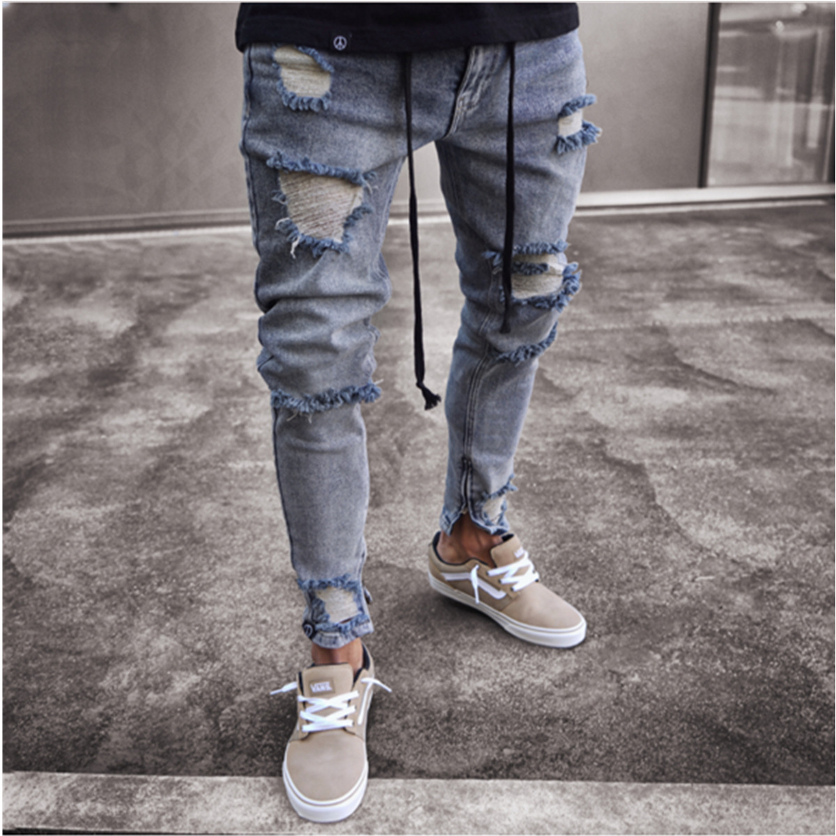 Men Skinny Tight-Fit High-End Tight Slim Fit Zipper With Holes Pencil Pants MEN'S Jeans Slim Fit