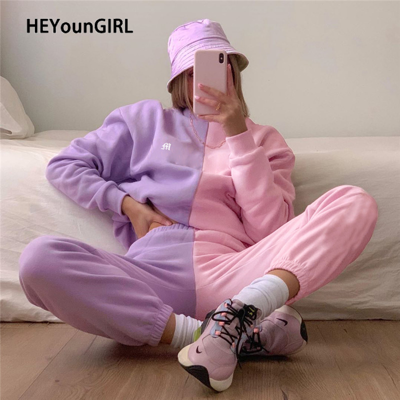HEYounGIRL Patchwork Pink Casual Sweatpants Women Pocket Skinny High Waist Pants Capris Fashion Sweat Cute Joggers Streetwear